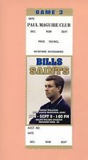 New Orleans Saints  Buffalo Bills 2001 ticket stub Deuce McAllister 1st NFL GAME