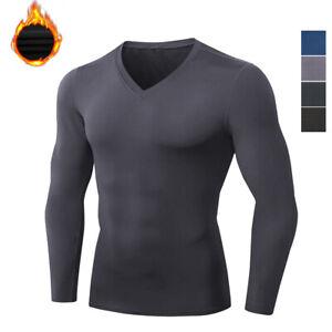 Men's Compression Fleece Baselayer V Neck Fast Drying Long Sleeved Shirt Solid