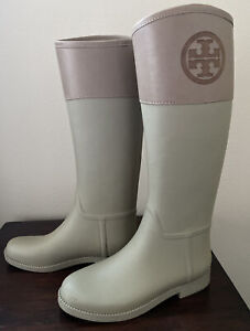 Tory Burch Classic Rain Boots Women's Sz 9 Gray / Tan Rubber & Leather W/ Logo