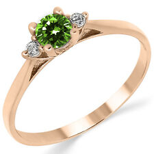 14K Solid Pink Rose Gold Lab Created Emerald Three Stone Engagement Promise Ring