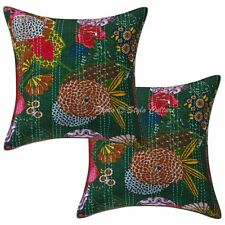 Indian Kantha cushion Sofa Cover Pillowcase Bohemian Home Decorative 16'' Throw
