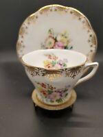 ROSINA tea cup and saucer Floral pink rose pattern teacup gold gilt England 40s