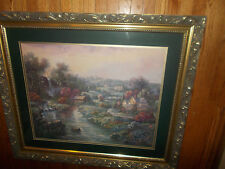 """LARGE PICTURE FRAMED MATTED 41""""x36"""" HOME BRIDGE WATERFALL INTERIOR DECOR FLOWERS"""