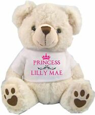 Personalised White Teddy Bear Princess Crown Birthday Christening GiftS