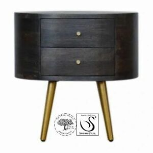 Ash Black Bedside/occasional with Brass Legs