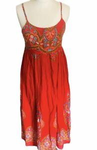 Kushi Maxi Summer Dress Orange Red Multicolour Boho Cotton Size 12 Beaded