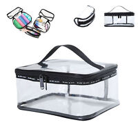 Black Clear Transparent Cosmetic Toiletry PVC Travel Wash Makeup Bag Zip