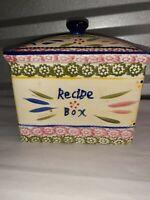 Temp-tations Old World Recipe Box w Lid By Tara Ovenware Sponge Band RARE