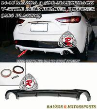 V-Style Rear Bumper Diffuser Lip Fits 14-16 Mazda 3 5dr (Hatchback)