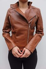Barneys Tan Brown Casual Quilted Asymmetric Leather Biker Jacket 6 34 US 2 New