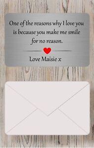 Personalised Sentimental valentines day Metal Wallet Card Boyfriend/Girlfriend
