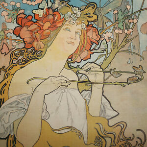 EXRARE ORIGINAL 1897 ALPHONSE MUCHA COLOR LITHOGRAPH AMAZING HUGE ICONIC IMAGE!