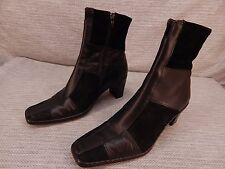 Josef Seibel Black Leather Suede Ankle Zipper Boots Size 8.5  EUR 39
