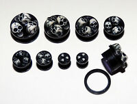 Black Skull Ear Expander Kit. Two Sets of Acrylic Flesh Tunnels. Screw Back. UK