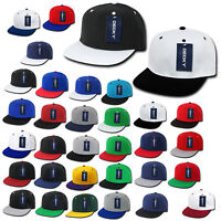TWO-TONE SNAPBACK HAT Cap vtg retro plain blank solid flat bill classic baseball