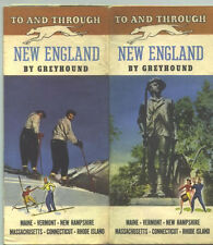 1946 Greyhound Bus Lines New England Travel Brochure & Route Map /Nice Pictures