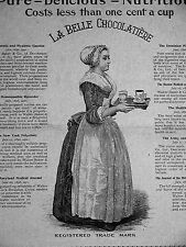 Walter Baker & Co. BREAKFAST COCOA Lots of ENDORSEMENTS 1896 Print Ad Matted