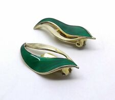 Rare Norway HROAR PRYDZ 925S Green Enamel Leaf Sterling Silver Clip-on Earrings