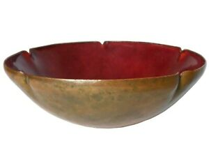 EARLY 20TH C AMERICAN ARTS & CRAFTS ANTIQUE ENAMEL ON COPPER HAMMERED SMALL BOWL