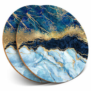 2 x Coasters - Marbled Art Effect Blue Gold Marble Home Gift #21152