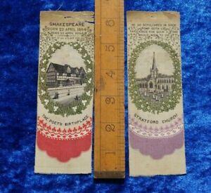 Stevens Woven Silk (c.1862) bookmarks Stratford Church & Shakespeare Birthplace