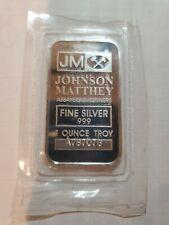 New Listing 1 Oz Jm .999 Fine Silver Bullion Bar - Jm