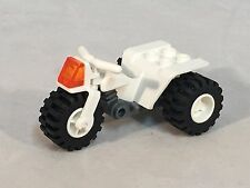 LEGO Motorcycle White Tricycle Dark Gray Chassis Translucent Orange Light