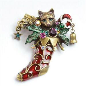 Sweet Romance Christmas Kitty Stocking Pin Red & Multi Color Handcrafted in USA