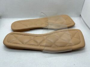 Womens Padded Flat Sandals Clear Strap Slide Size US Womens Size 12 EU 43