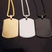 Dog Tag Stainless Steel ID Dog Tag Military Pendant Chain Titanium Necklace Army