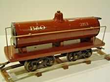 ORIGINAL 2 GAUGE VOLTAMP 2113 TANK CAR FROM 1910 - RESTORED W/ EARLY TRUCKS.