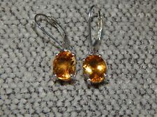 LARGE CITRINE DROP/DANGLE EARRINGS WITH LEVERBACK - 3.500CTS-WITH PLATINUM