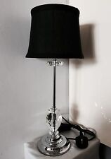 """Modem 20""""/50cm Tall Chrome & Crystal Tablelamp & Lined Natural Cotton Shade"""