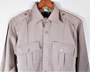 Vintage Clifton Uniform Super Shirt Sherriff Police 70s Point Collar Zip 15.5 M