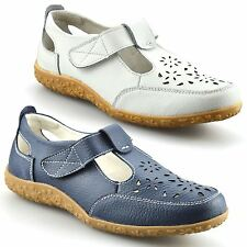 b95203025fe8 Ladies Womens Casual Flat Leather Wide Fit Comfort Walking Work Pumps Shoes  Size