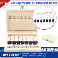 22PCS Countersink Drill Bit Depth Stop Collars Counterbore Screw Set Hole Cutter