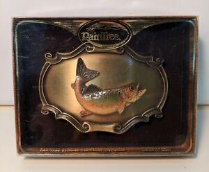 Rain Tree Buckles & Jewelry 1978 USA Western enamel trout fish belt buckle