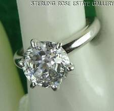 9mm Round CUBIC ZIRCONIA Sterling Silver 0.925 Estate ENGAGEMENT RING size 6.25