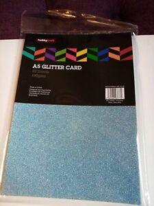 Hobbycraft A5 Glitter Card 19 Sheets baby blue