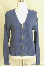 Chicos Blue Cardigan Sweater Chunky Knit Metal Clasp Shabby Chic Sz 1 Medium