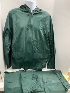 Bass Pro Shops Rain Gear Windbreaker Jacket Hooded Pants Green 2-pc. Size L