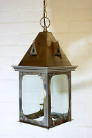 A large Vintage Chrome Ceiling Light Pendant Art Deco style with Bevelled Glass