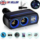 2way 12v Dual Usb Car Charger Socket Cigarette Lighter Splitter Power Adapter Uk