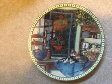 """Edwin M Knowles """"Lazy Morning"""" Hannah Hollister Ingmire Cat Collector Plate 1991"""