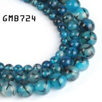 Blue Dragon Black Veins Agate Round Loose Beads for Jewelry Making 6/8/10mm 15''
