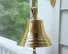 More details for solid 8 inch brass ship pub door bell with heavy mounting bracket with lanyard