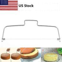 US Adjustable Baking Stainless Steel Wire Cake Slicer Leveler Slices Cutter Tool