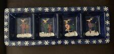 Certified Intern. Rectangle Ceramic Dish 4 Sections Reindeers Rebecca Ruegger