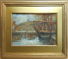 Whitby Harbour Yorkshire. Oil by listed artist Alfred George Morgan, circa 1900