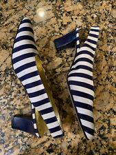 "8.5B Escada Navy and White Striped 3"" Pumps Sz 8 1/2 Vintage Heels Flawless Euc"